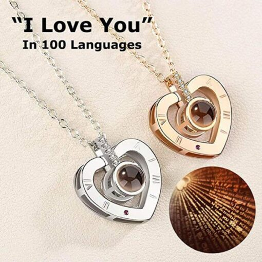 i love you necklace projection